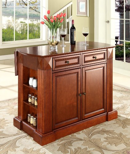 Cheap Crosley Furniture Drop Leaf Breakfast Bar Top Kitchen Island in Classic Cherry Finish (KF30007CH)