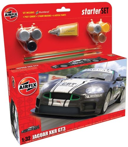 Airfix A50109 Jaguar XKRGT3 Apex Racing 1:32 Scale Car Category 3 Gift Set with Paint Glue and Brushes