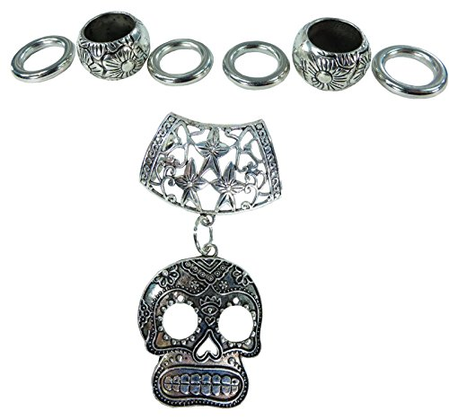 Day of the Dead / Dia de los Muertos sugar skull gothic rockabilly psychobilly DIY scarf jewelry pendant slide bail rings set. Alloy charm tube CCB beads accessory findings for scarf jewelry necklace making.