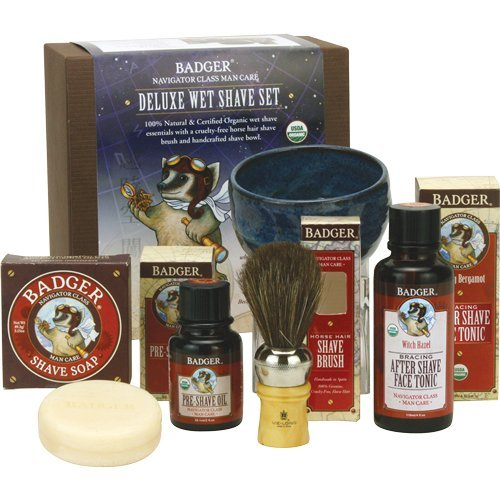 Badger Deluxe Wet Shave Set - Includes Pre-Shave Oil, Shave Soap Pottery, Shave Bowl, Horse Hair Shave Brush, After Shave Face Tonic