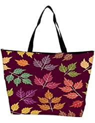 Snoogg A Seamless Pattern With Leaf Waterproof Bag Made Of High Strength Nylon