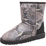 Kids Ugg Junior Girls Classic Short Snake Boots Black