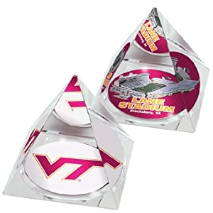 NCAA Virginia Tech Hokies Lane stadium and logo in 2 Crystal Pyramids with Colored... by Paragon Innovations Co