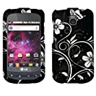 Faceplate Hard Plastic Protector Snap-On Cover Case LG Optimus T P509 Thrive Phoenix P505 P506, White Flowers 2D Silver Texture