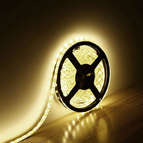 Le Lampux 12V Flexible Waterproof Led Strip Lights, Warm White, Super Bright 300 Units 5050 Leds, Light Strips, Pack Of 5M