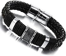 Comprar Ostan - 316L acero inoxidable y cuero gótico pulseras de hombres - nueva moda joyería brazaletes, negro