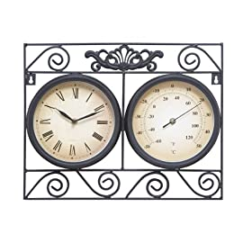 METAL OUTDOOR CLOCK THERMOMETER WITH DIFFERENT DIALS