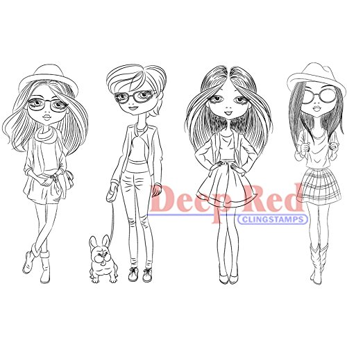 Deep Red Stamps City Girls Street Chic Rubber Stamp - 1
