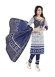 Aarvi Fahion Ethnicwear Women's Dress Marerial(Rangresham1801_White_Free Size)