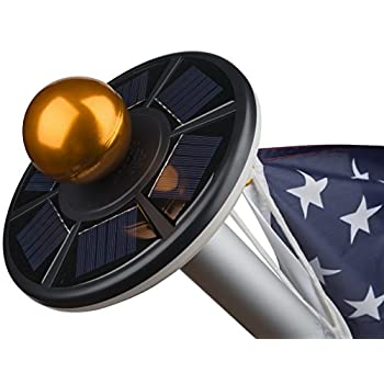 Sunnytech 2nd Generation Solar Flag Pole 20led Light ,Brightest, Longest Lasting & Most Flag Coverage, Downlight Lights up Flag on Most 15 to 25 Ft Flagpole for Night Lighting White+Black Shell