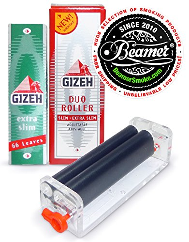 Gizeh-Duo-Roller-Rolls-2-Different-Widths-1-14-Size-Extra-Slim-Cigarette-Rolling-Papers-Pack-66-Leaves-Per-Pack-Limited-Edition-Beamer-Smoke-Sticker-Used-with-Legal-Smoking-Herbs