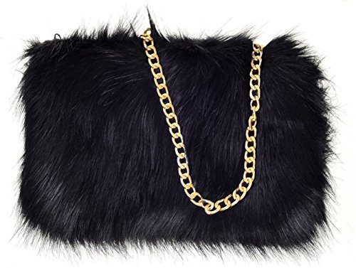 WOMENS FAUX SOFT FUR GOLD CHAIN CLUTCH HANDBAG