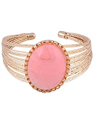 Princessories Metal Bracelet With Pink Resin - Gold And Pink