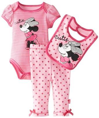 Disney Baby-Girls Newborn Minnie Creeper Pant Bib Layette Pink, 3-6 Months