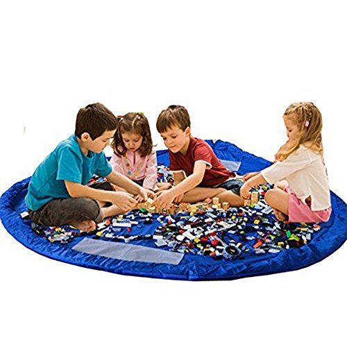 Lexitek Children Play Mat Foldable baby Toy Storage Bag Kids Rug Child Toy Organizer for Lego 60 inch Blue