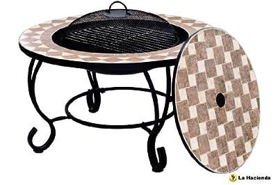 La Hacienda Napoli - Fire Pit Barbecue Grill And Table - Mosaic Lid D 76cm by La Hacienda
