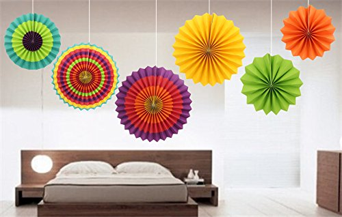 Fiesta Bright Colorful SOMAN Tissue Paper Fan Decorations for Party Birthday Events Wedding and Home 6 Pack (Skylander Light Expansion Pack compare prices)