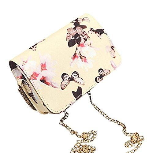 Koly_Le donne floreali in pelle a tracolla Bauletto retro borsa Messenger Bag (Giallo)