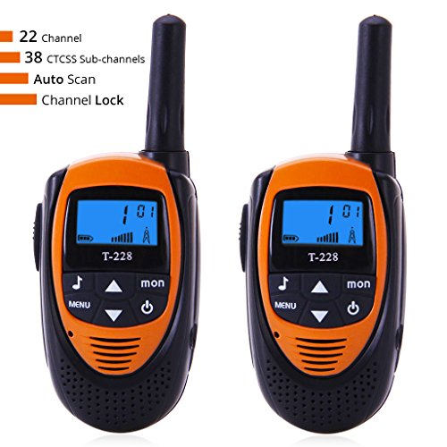 Radioddity T-228 Handheld Walkie Talkies For Kids, UHF 400-470MHz FRS/GMRS Two-Way Radio For Children, Transceiver Easy to Use & Kids Friendly, 22 Channels, 2 Mile Range Max 3, 1 Pair (2 Pcs)