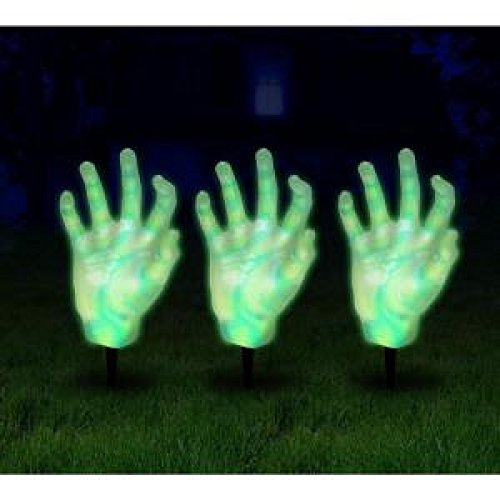 SET OF 3 LED LIGHT UP ZOMBIE HAND PATHWAY MARKERS OUTDOOR HALLOWEEN YARD DECORATION SCARY MONSTER LAWN LIGHTS