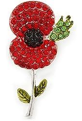 Red, Black, Green Crystal Poppy Flower Brooch In Silver Tone - 55mm L