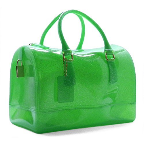 Beni Glitter Jelly Candy Tote Satchel Bag (L/Green(101)) (Black Jelly Bags Handbags compare prices)