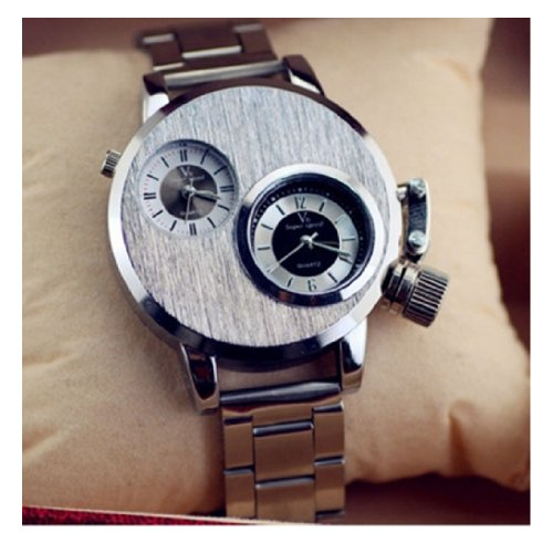 V6 Men'S Sports Watch Steel Case Analog Quartz Dual Time Zone Stainless Steel Strap Military Clock