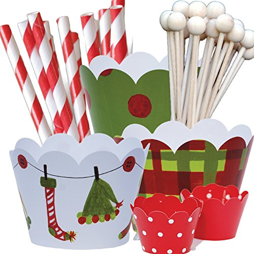 Elf Theme Christmas Party Supplies Pack, Hostess Gift, Confetti Couture, 96 Piece Kit (Baking Party Theme compare prices)