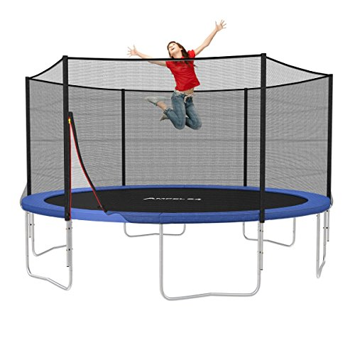 AMPEL 24, trampolino elastico da giardino completo con rete di sicurezza, tela da salto | 4,30 m di diametro | testato TÜV e GS