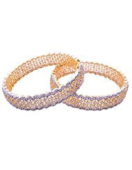 Goonj The Rhythm Of Jewels Fancy CZ Bangles For Women B43 (Size 2.8) - B00PFRR8IU