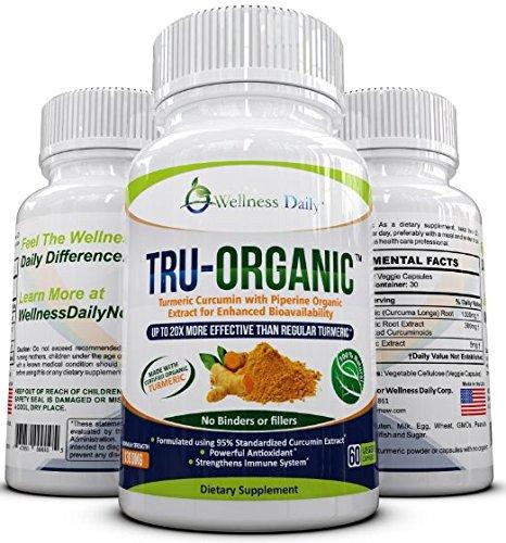 TRU-ORGANIC: Premium Organic Turmeric Curcumin: Advanced Strength (1300mg) Non GMO, Gluten Free, All Natural Turmeric Supplement (95% Standardized C
