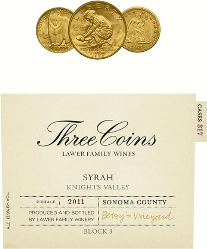 2011 Lawer Family Three Coins Syrah Knight'S Valley 750 Ml