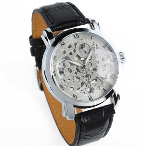 Seasonwind Mens Skeleton Transparent Mechanical Stainless Steel Automatic Leather Band Watch New