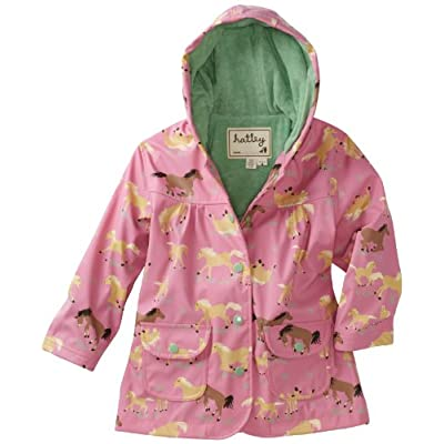 Hatley Running Horses Girl's Rain Coat Rose Water