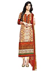 Surat Tex Orange Color Digital Print Cotton Semi-Stitched Salwar Suit-D314DL2401SA