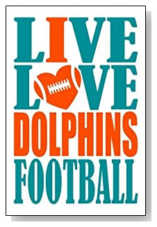 Live Love I Heart Dolphins Football lined journal - any occasion gift idea for Miami Dolphins fans from WriteDrawDesign.com