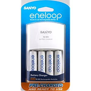 Sanyo Eneloop 4 Pack AA NiMH Pre-Charged Rechargable Batteries w/ Charger