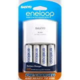 Sanyo Eneloop AA NiMH Pre-Charged Rechargable Batteries with Charger - 4 Pack ~ Sanyo