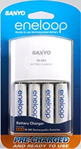 Sanyo - Eneloop Aa Nimh Pre-Charged Rechargable Batteries With Charger - 4 Pack