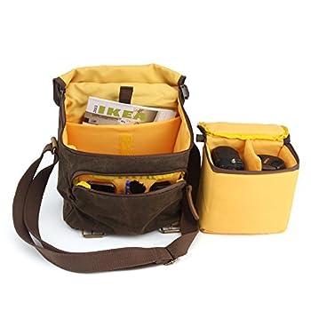 BESTEK CADEN Waterproof Canvas SLR DSLR Camera Shoulder Bag with Shockproof Insert 2