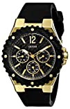 GUESS Womens U0149L4 Carbon-Fiber Inspired Black   Gold-Tone