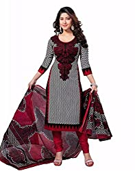 Ethnic Fashion Trendy Black and Red Printed Salwar Kameez with Dupatta