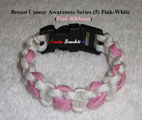 Sz 9 Paracord Bracelet - Breast Cancer Awareness Series (4) - Pink/White (Pink Ribbons)