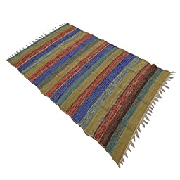 Handmade Multicolor Indian Chindi Rugs Hand Woven Mat Recycled Cotton Rug Dari 70 X 43 Inches