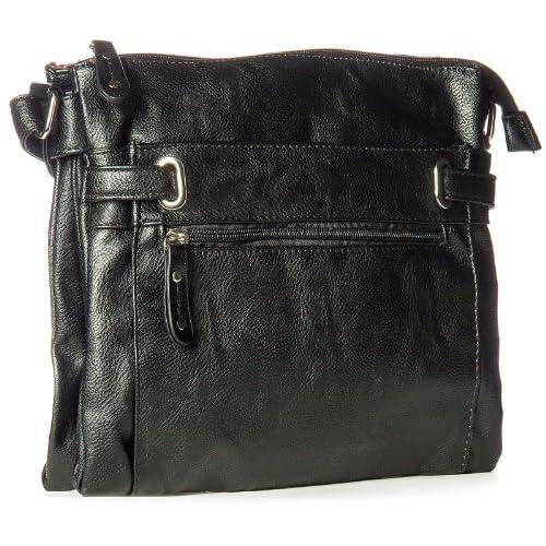 Big Handbag Shop Womens Multi Pocket Medium Messenger Shoulder Bag