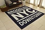 ブルックリンプリント 英語文字 洗濯できる nyc-130185-bl (SUL) 約130×185cm ブルー ホットカーペットカバー 床暖対応 インテリアショップゆうあい