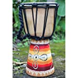 Fairtrade 30cm Multi coloured Painted Wooden Djembe Bongo Drum F