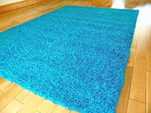 SMALL EXTRA LARGE RUG MODERN SOFT THICK SHAGGY RUGS NON SHED SHAG RUNNERS (Turquoise Blue, 80 x 150 cm)