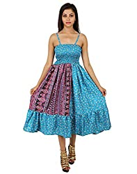Elegant Polyester Floral Dress Blue Printed Medium For Ladies By Rajrang