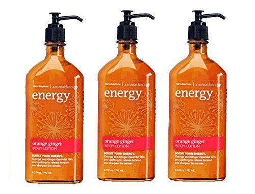 Lot of 3 Bath & Body Works Aromatherapy Energy Orange Ginger Body Lotion 6.5 Fl Oz Each (Orange Ginger) 6.7 Ounce Energizing Bath